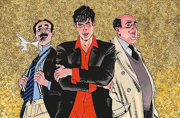 Dylan Dog flankerad av Groucho och Kommissarie Bloch